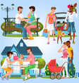 cartoon set of homosexual families with little vector image