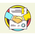 color of handshake with contract signed and vector image vector image