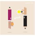 Creative pencil businessman hand sign vector image