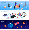 crypto currency isometric banners vector image vector image