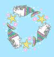 cute cat unicorn mermaid clipart vector image vector image