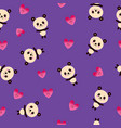 cute panda bears and hearts seamless pattern vector image vector image