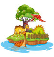 dinosaurs on the island vector image vector image