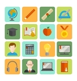 e-learning flat icon set vector image