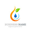 eco water drop logo design vector image vector image