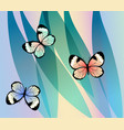 exotic colorful butterflies on fantasy leaves vector image vector image