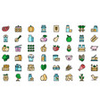 farm products icons set flat vector image vector image