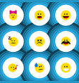 flat icon emoji set of cross-eyed face caress vector image vector image