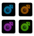 glowing neon male gender symbol icon isolated on vector image vector image