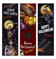 halloween witch monsters sketch banners vector image vector image