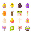 Happy Easter Flat Objects Set isolated over White vector image