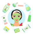 happy girl with facial mask organic cosmetics vector image