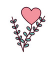 happy valentines day flower heart leaves foliage vector image vector image