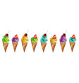 ice cream set colorful different flavors vector image vector image