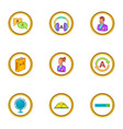 language learn icons set cartoon style vector image vector image