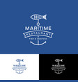 maritime seafood fish restauraunt logo ribbon prem vector image