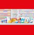 milk counter in supermarket vector image vector image