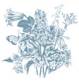 monochrome hand drawn garden flowers vector image