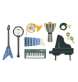 Music Instruments Realistic Drawings Set vector image vector image