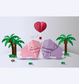 origami made elephant love in the jungle vector image vector image