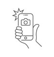 photo on smartphone with flash hand is holding vector image vector image