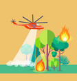poster of helicopter extinguishing wildfire vector image