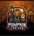 pumpkin lantern esport mascot logo vector image