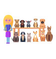 schoolkid with book and dog group different breeds vector image