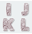Set of capital letters I J K L from the vector image