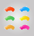set of colored glass icons of cars on a gray vector image vector image