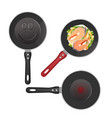 set of metallic pans with food sketch icons vector image vector image