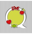 Speech bubble with sticker kawaii doodles vector image