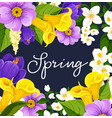springtime blooming flowers poster vector image vector image