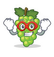 super hero green grapes character cartoon vector image