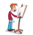 the mustachioed artist paints a portrait vector image
