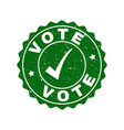 vote scratched stamp with tick vector image vector image
