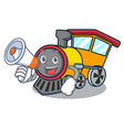 with megaphone train character cartoon style vector image vector image