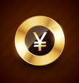 yen golden coin design with shiny effects vector image vector image