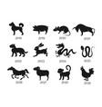 chinese horoscope zodiac animals symbols vector image