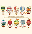 icons of vintage hot air balloons with flags vector image