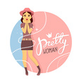 young girl in hat puts her hands together vector image