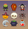 funny halloween icons-set 3 vector image