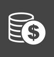 money icon on grey background coins in flat style vector image