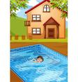A kid swimming at the pool vector image vector image