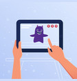 action game with augmented reality on a tablet vector image vector image