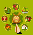 agriculture magnifying lens concept vector image