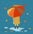 autumn card with a girl under an umbrella vector image vector image