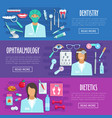 banners medical hospital personnel doctors vector image vector image