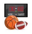 basketball and football points competition game vector image vector image
