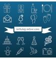 birthday outline icons vector image vector image